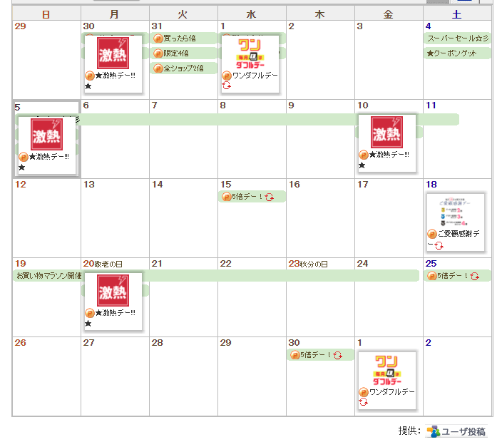 楽天カレンダーセール情報